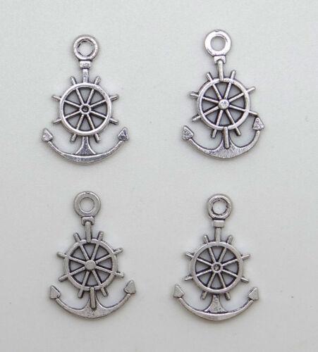bc201 12 breloques pendentifs roue et ancre marine en métal argenté vieilli