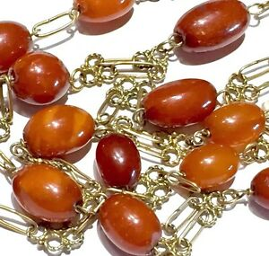 """Unknown 14k 45.5"""" Victorian Cannetille Egg Yolk Butter Scotch Caramel Amber Necklace Cheapest Price From Our Site"""