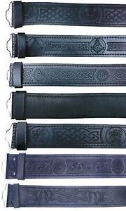 100% Cuir Noir Kilt Ceinture En Relief Celtique Écossais Chardon Ceintures Lion Rampant-afficher Le Titre D'origine