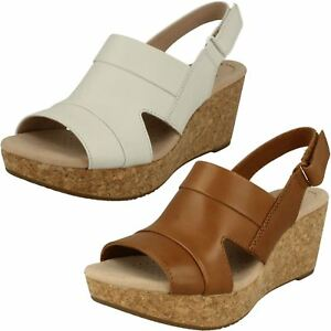 c8f940e4eb8 LADIES CLARKS LEATHER HOOK   LOOP HIGH WEDGE SLINGBACK SANDALS ...