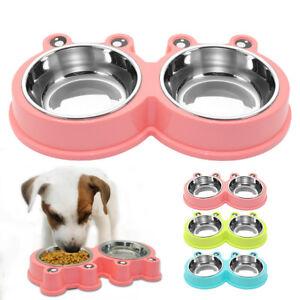 2-Doble-Comedero-para-Perro-Gato-Mascota-Tazon-de-Agua-Alimentacion-Plato-Rosa