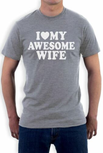 I Heart My Awesome Wife T-Shirt Couple Shirts Tee Spouse Valentine/'s Day Wedding