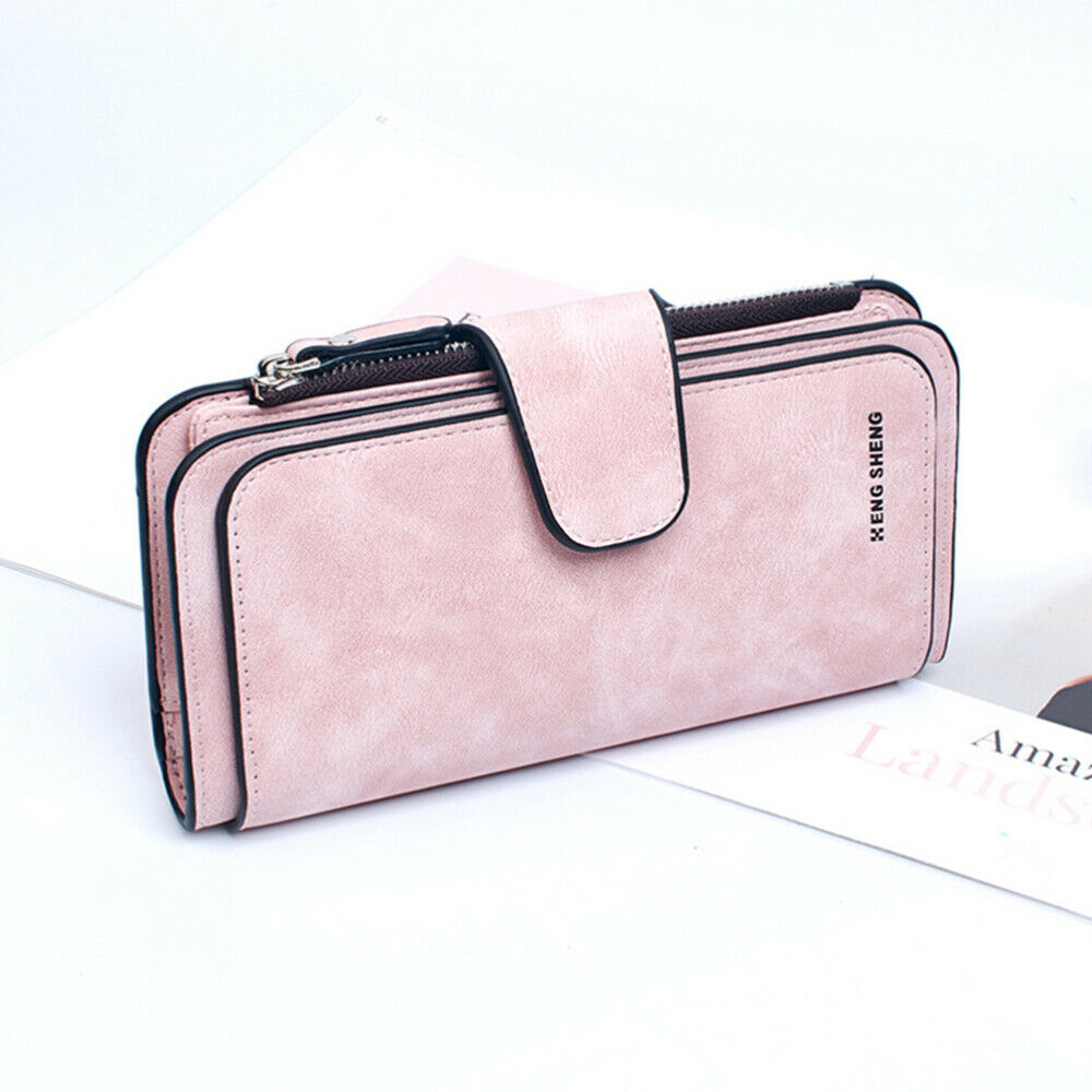 1pc PU Leather Wallet Portable Zipper Cell Pouch Wallet Purse for Girls