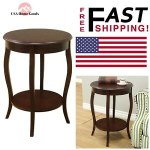 Details About Espresso Round End Table Accent Decorative Home Room Furniture W Storage E