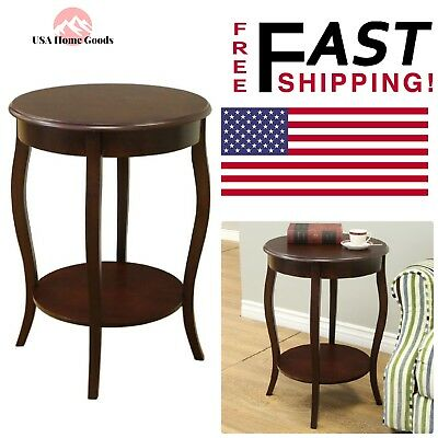 Espresso Round End Table Accent Decorative Home Room Furniture W Storage Space 75821930706 Ebay