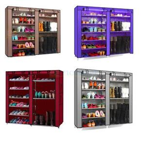 1X-New-Double-Shoe-Boot-Closet-Rack-Organizer-Shelf-Storage-Cabinet-9-Layer-US