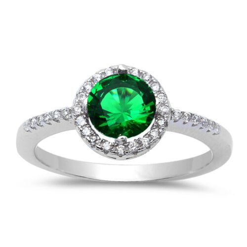 Halo Green Emerald /& Cubic Zirconia .925 Sterling Silver Ring Sizes 5-9