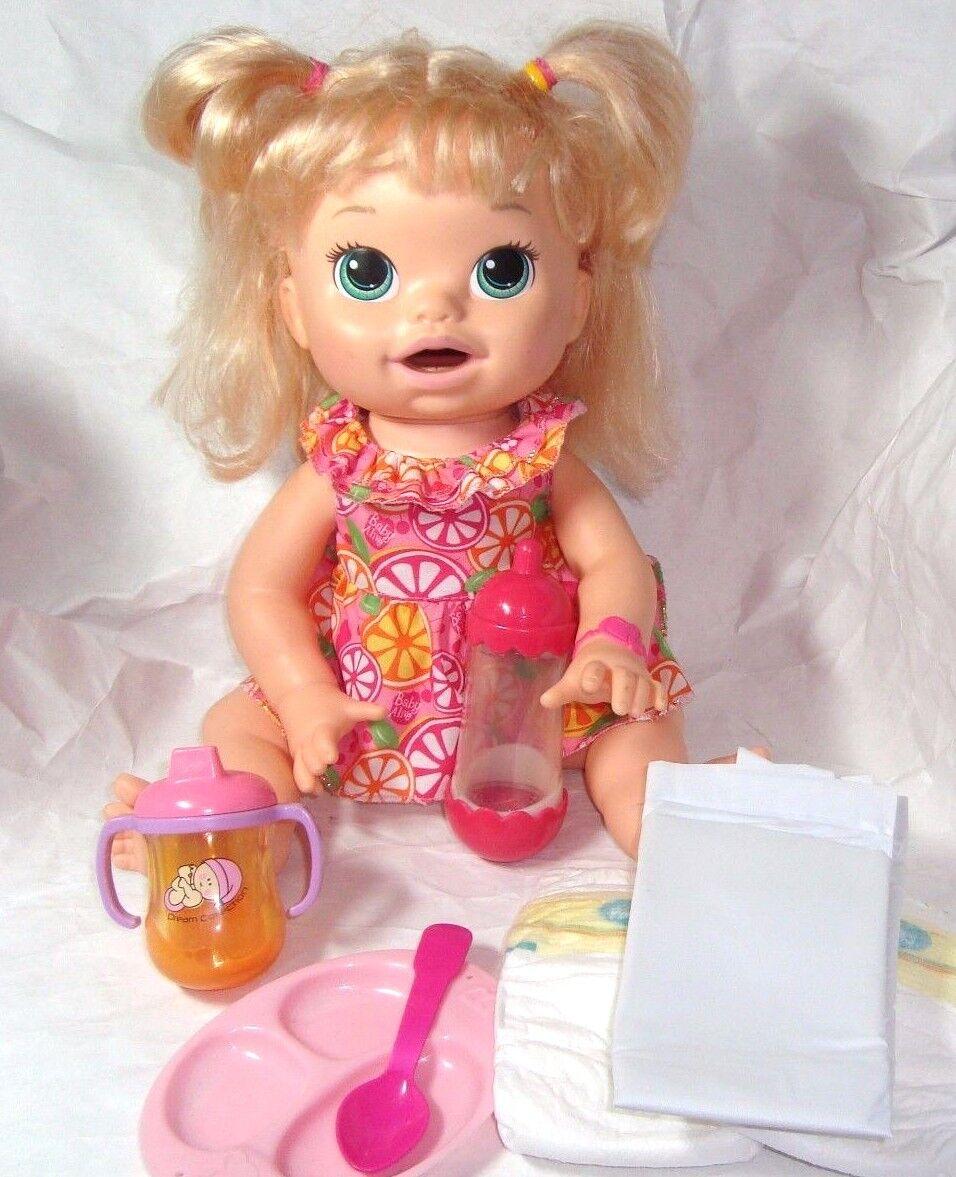 Baby Alive A7022 mi bebé Snackin Sara Muñeca Super bocadillos Cabello Pañales Botella