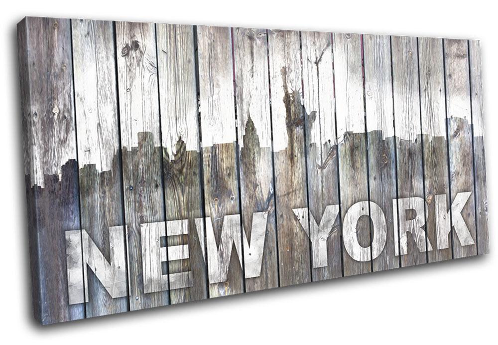 New York NY Vintage Wood City SINGLE TELA parete arte foto stampa