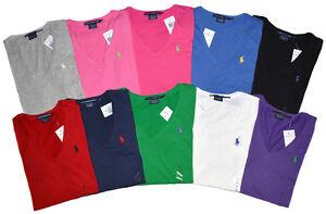 polo ralph lauren damen v neck shirt classic 10 farben size xs xl ebay. Black Bedroom Furniture Sets. Home Design Ideas