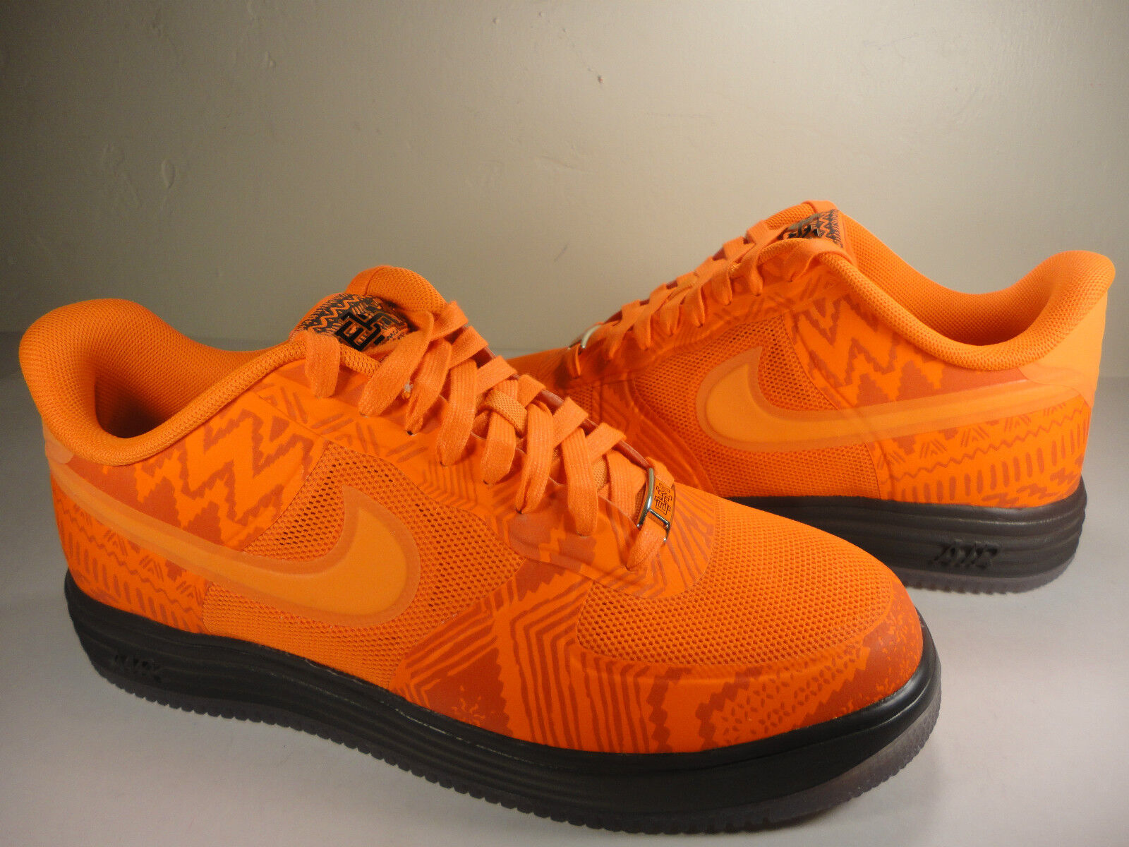 Nike Lunar Force 1 Fuse BHM Orange Black History QS Brown SZ 9.5 (585714-800)