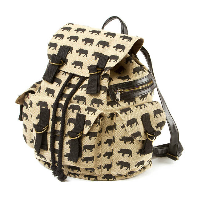 Burlington Rhino Backpack Tan Canvas Black Print Book School Bag Nwt