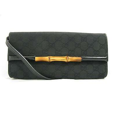 Authentic GUCCI Bamboo Shoulder Bag Pouch Crossbody GG Canvas Black