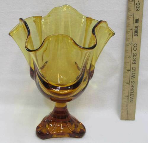Amber Glass Vase Abstract Shape Pedestal Vintage Rare Pulled Edges Flared
