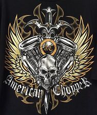 American Chopper Size 2 XL Black T-Shirt 100% Cotton SS Great Graphics! EUC!