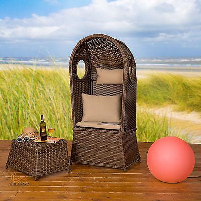 Strandkorb NOSTALGIE 1-Sitzer Korb mit Fußbank & Auflage, LILIMO ®