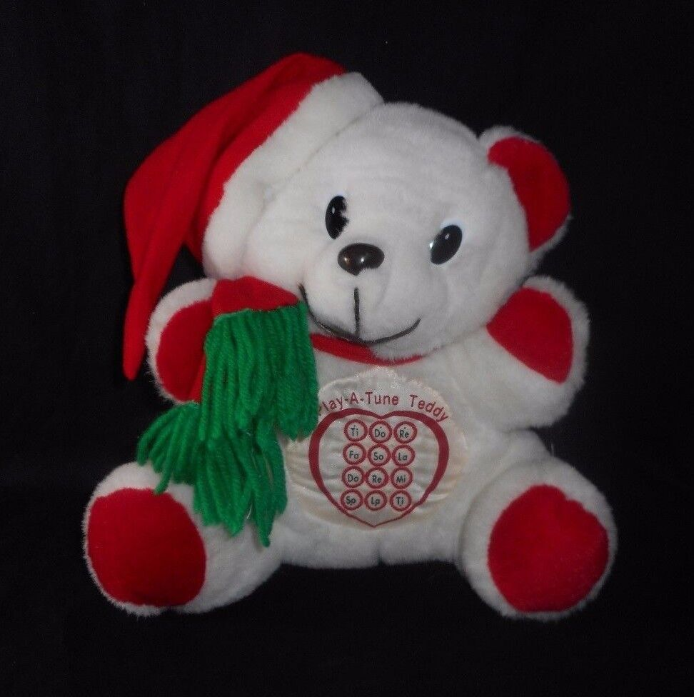 11  VINTAGE PLAY A TUNE TEDDY BEAR WHITE & RED MUSICAL STUFFED ANIMAL PLUSH TOY