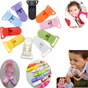 20pcs Colored Plastic Suspender Soother Pacifier Holder Dummy Clips For Baby New