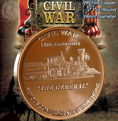 """Civil War /""""Monitor vs Virginia/"""" 1 oz Copper Round"""