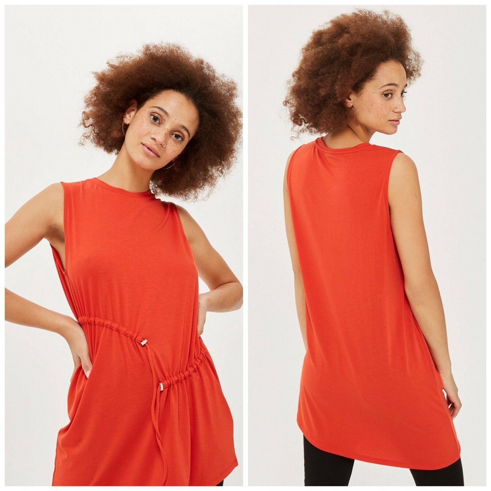 NWT Topshop Sleeveless Ruched Tunic (Size 4)
