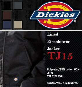 DICKIES TJ15 LINED EISENHOWER MENS WORK JACKET COAT CHARCOAL LAUNDRY FRIENDLY