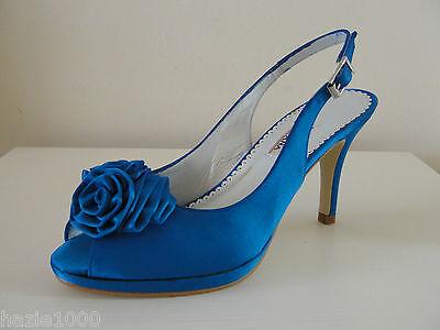 HB Avril Azul Eléctrico Raso PEEP TOE ZAPATOS, UK 4.5/EU 37.5, RRP £ 129, BNWB
