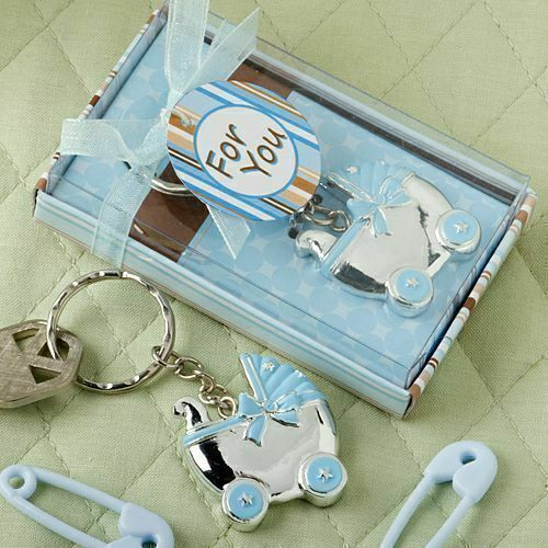 40 - Blue Baby Boy Carriage Design Key Chains Shower Favors - Free US Shipping