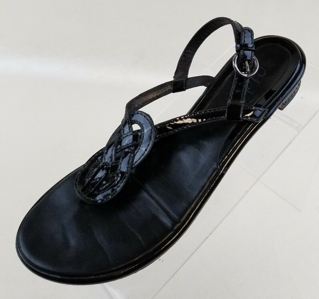 Cole Leather Haan Sandals T Strap Thong Flats Black Patent Leather Cole Womens Shoes Sz 7.5B 7fbbb1