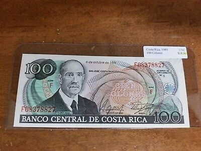 Costa Rica 100 Colones  Note P-261a   ABOUT UNCIRCULATED+
