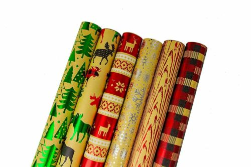Kraft Cozy Cabin Bundle of 6 Rolls of Christmas Gift Wrapping Paper 90...
