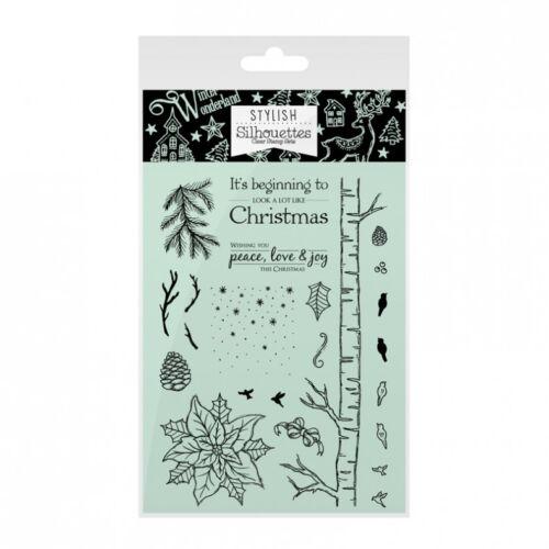 HUNKYDORY Stylish Silhouettes A WHITE CHRISTMAS STAMP SET Festive Foliage 106