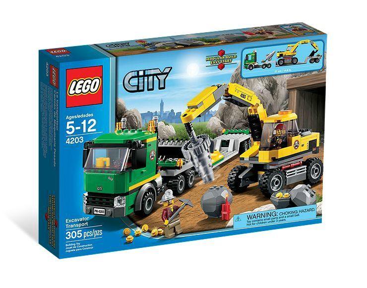 LEGO ® City 4203 miniere ESCAVATORE + Transporter Nuovo OVP _ Excavator trasporto NEW MISB