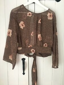 H-amp-M-Conscious-Brown-Floral-Tie-Back-Blouse-BNWT-Size-10-Bloggers-Fave-Sold-Out