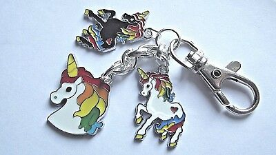 Unicorn Keyring 3 Metal Unicorn Charms Lobster Claw Clasp Comes With Gift Box