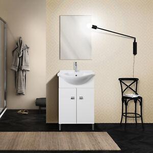 Mobile bagno salvaspazio 2 ante con piedini lavabo e specchio bianco ...