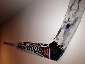 Game-Used Goalie Hockey Stick Holder Display - WHITE