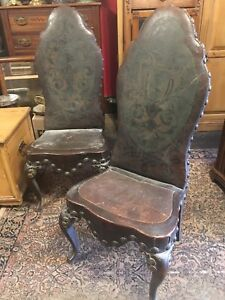 Phenomenal Details About Pair Antique French Walnut Heavy Leather Chairs Unbelievable Early Castle Style Squirreltailoven Fun Painted Chair Ideas Images Squirreltailovenorg