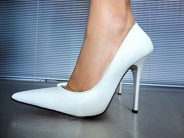 Descuento barato MORI MADE IN ITALY POINTY PUMPS SCHUHE PYTHON LEATHER DECOLTE WHITE BIANCO 40