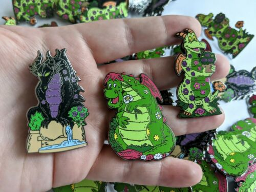 Maleficent Elliot Figment Details about  /Fantasy Topiary Dragon Pin Set of 3