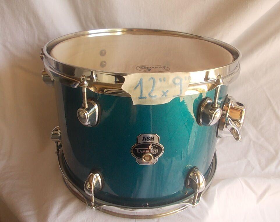 TAMBURO ASH  tom 12  x9  metallic electric blu in Frassino x drum set batteria