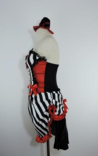 Black /& White Burlesque Can Can Saloon Show Girl Fancy Dress Costume