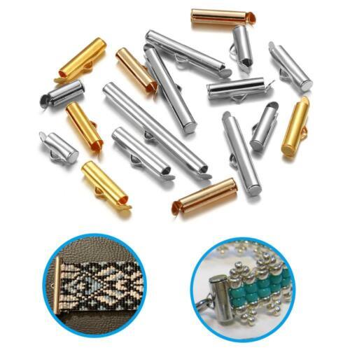 30//50Pcs Crimp End Caps Slider Clasp Buckles Tubes Jewelry Bracelet Connectors#Q