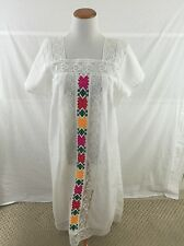 White MEXICAN embroidered PEASANT dress Women's M/L