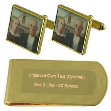 Heart Playing Card number 7 Gold-tone Cufflinks Money Clip Engraved Gift Set