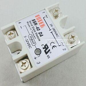 SSR-40DA Solid State Relay 40A Output AC 24-380V & Input DC 3-32V New