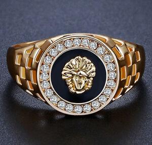 LION-Gold-Color-Men-039-s-Wedding-Engagement-Ring-Zirconia-Sphinx-Lion-Ring-M90