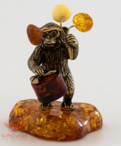 Solid Brass Amber Figurine Monkey with flowers /& gift Ironwork