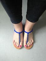 Buffalo Sandaletten Sandalen Gr. 38 Zehentrenner NEU blau Damensandalen Schuhe