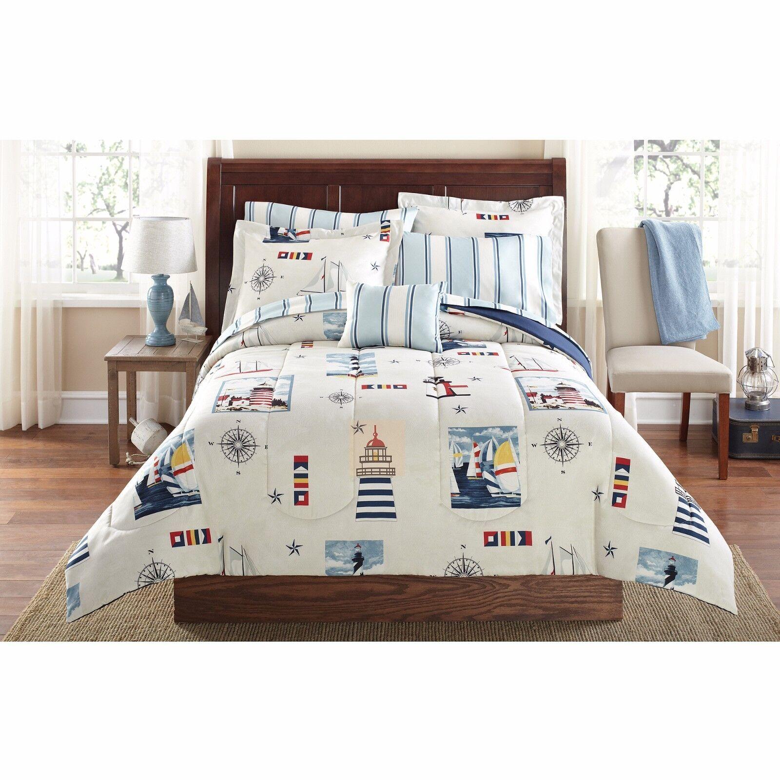 Nautical Comforter Set Sheet Set Twin XL 8 PCs Flag Navy Star Maritime Bedding