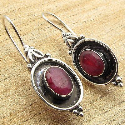 925 Silver Plated ANTIQYE STYLE Earrings ! Hot Selling RUBY Gemstone ! NEW ITEM